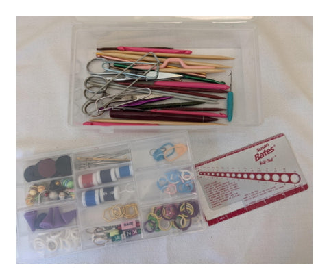 Plastic bead organizer with knitting supplies