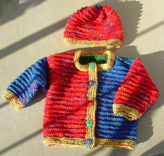 Baby Color Block Cardigan and Hat