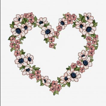 Floral Heart Cross Stitch (Free Pattern)