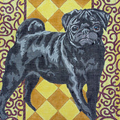 Black Pug on Gold