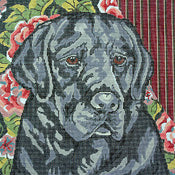 Black Lab/Floral Background