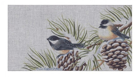 Chickadees in Pine Branches