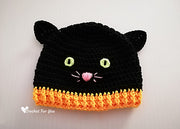 Halloween Black Cat Crocheted Hat