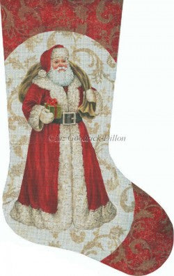 Red Santa with Green Gift Stocking