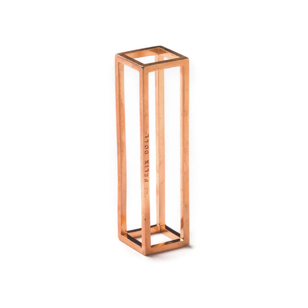 102 A - Big Rectangle - 18ct rose gold-plated silver