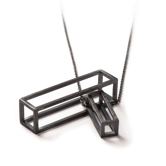 108.35 A - Rectangle M - black silver - Felix Doll Jewelry