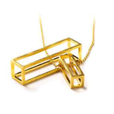 108.35 A - Rectangle M - silver gold-plated - Felix Doll Jewelry