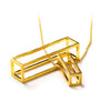 102 A - Big Rectangle - silver gold-plated - Felix Doll Jewelry