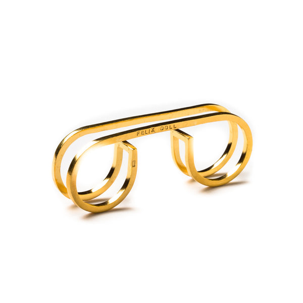 211 A - Triple Round Ring - gold-plated brass - Felix Doll Jewelry