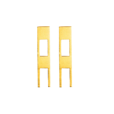 609 A - Rectangle Open Earrings - silver gold-plated - Felix Doll Jewelry