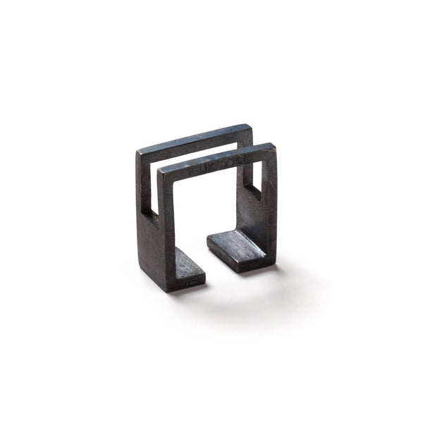 218 B - Square Half Plated Ring - black silver - Felix Doll Jewelry