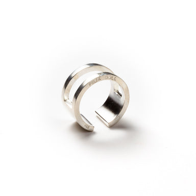 223 B - Round Half Plated Ring - silver - Felix Doll Jewelry