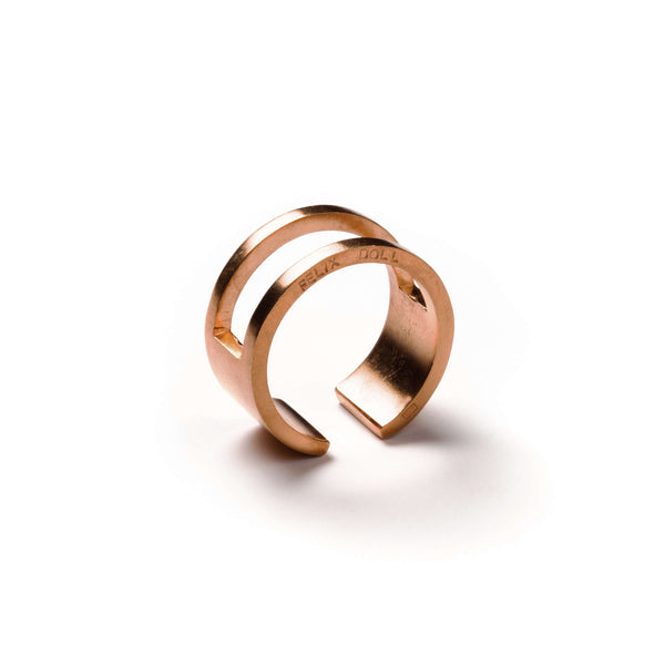 223 B - Round Half Plated Ring - 18ct rose gold-plated silver