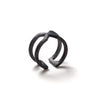 226 B - Round X Ring - black silver - Felix Doll Jewelry
