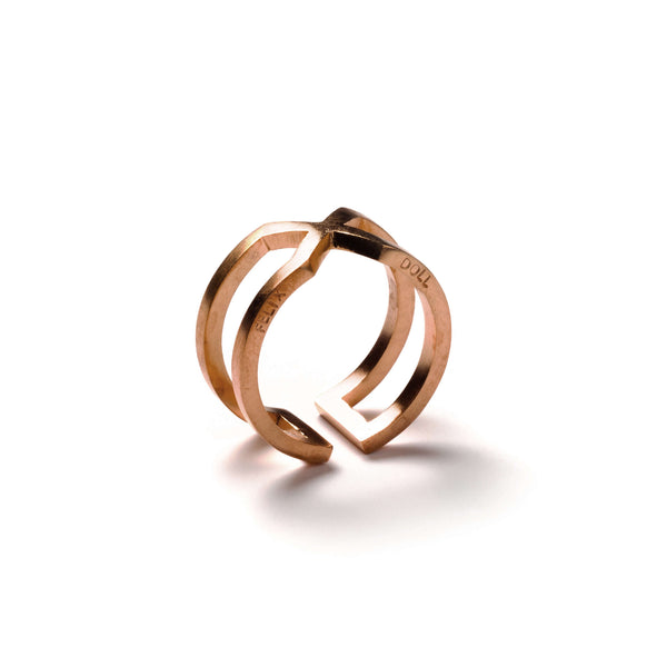 226 B - Round X Ring - 18ct rose-gold plated silver