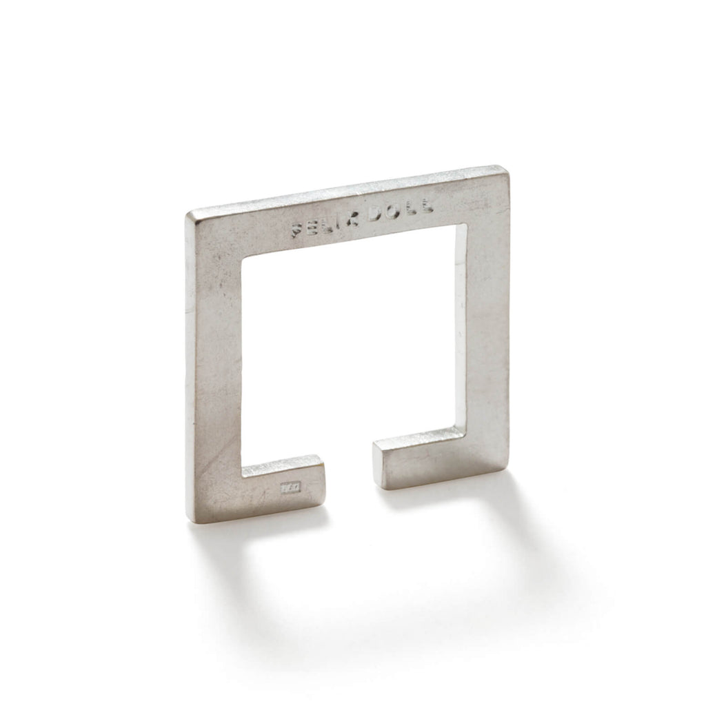 228 C - Flat Square Ring - Sterling Silver