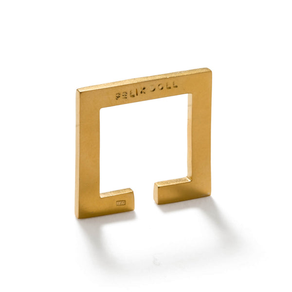 228 C - Flat Square Ring - 24ct gold-plated sterling silver