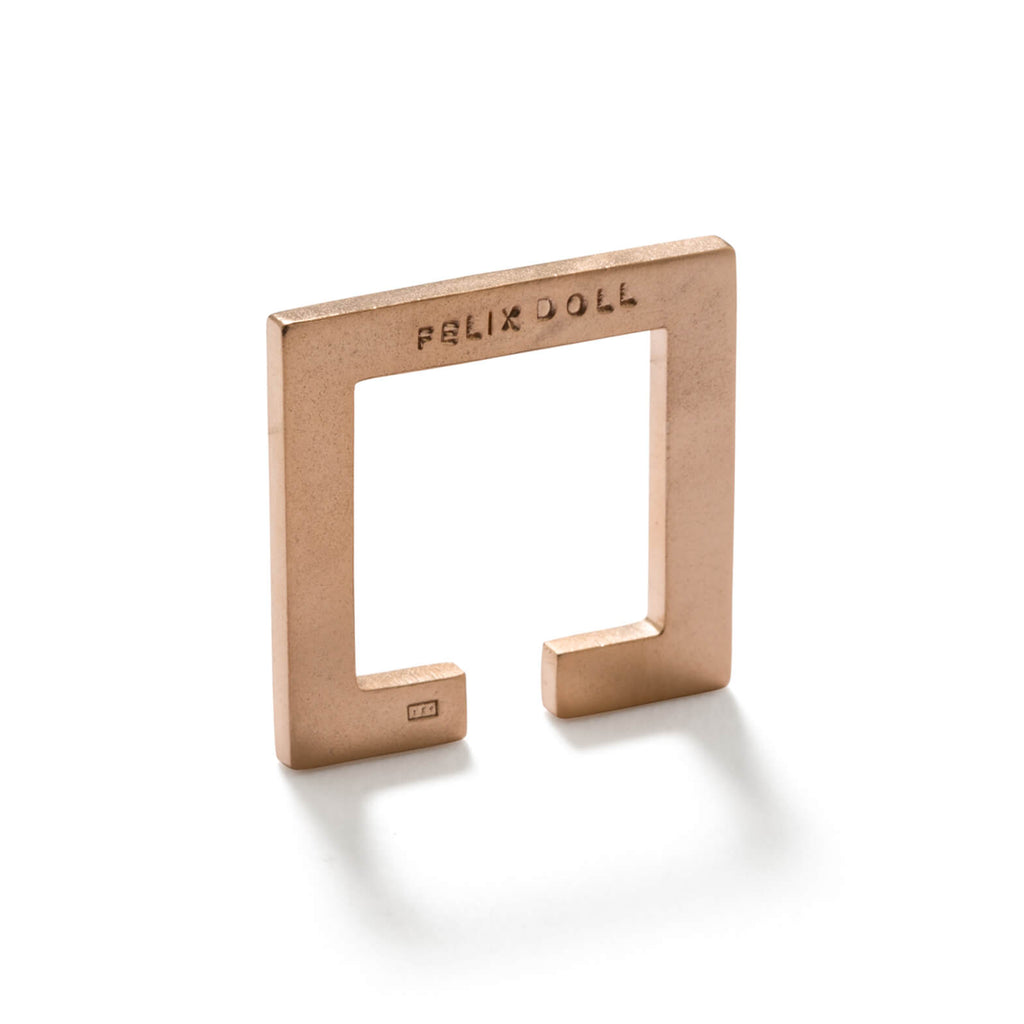 228 C - Flat Square Ring - 18ct rose gold-plated silver