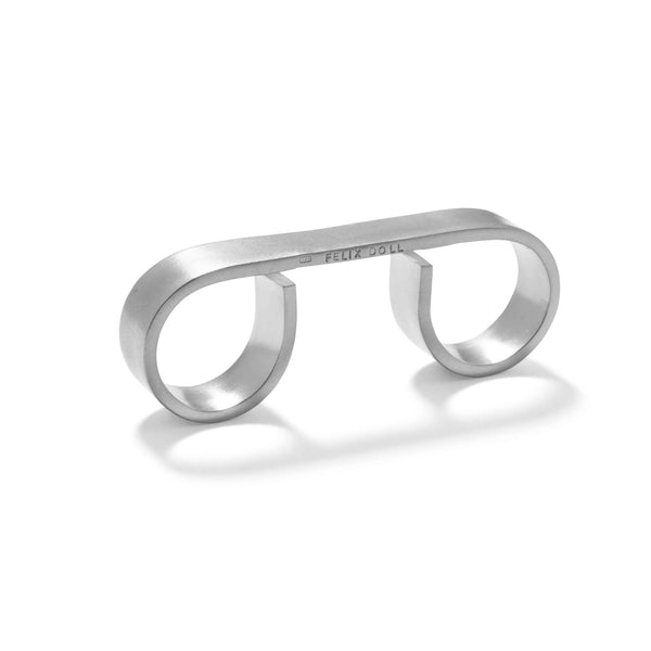 231 C - Bold Triple Round Ring - silver-plated brass