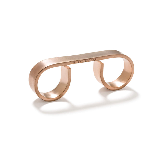 231 C - Bold Triple Round Ring - 18ct rose gold-plated brass