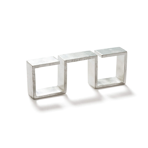 232 C - Bold Triple Square Ring - silver-plated brass