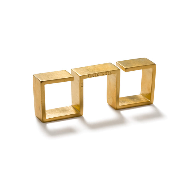 232 C - Bold Triple Square Ring - 24ct gold-plated brass