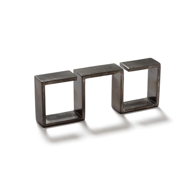 232 C - Bold Triple Square Ring - Rhutenium-plated brass