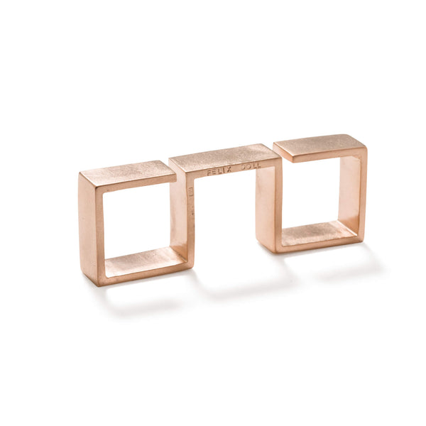 232 C - Bold Triple Square Ring - 18ct rose gold-plated brass