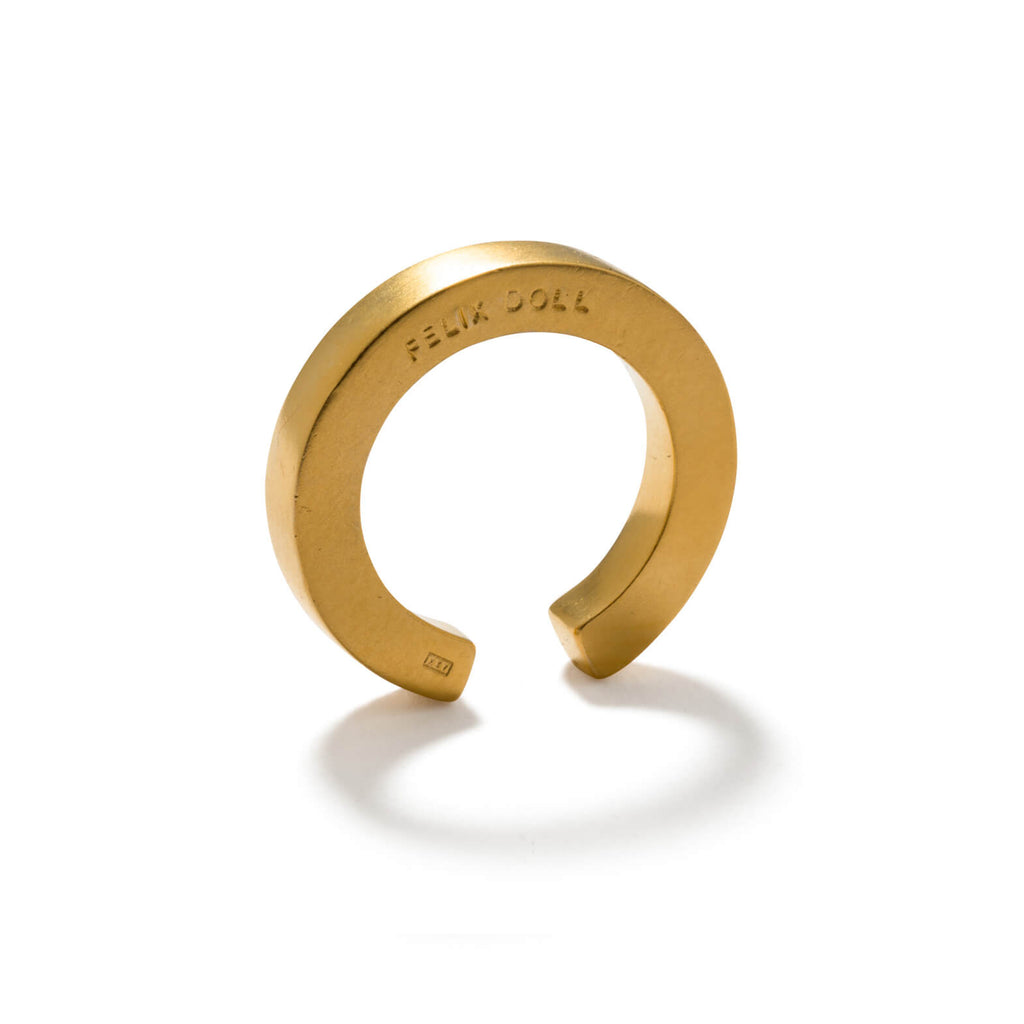 240 C - Solid Round Ring - 24ct gold-plated sterling silver