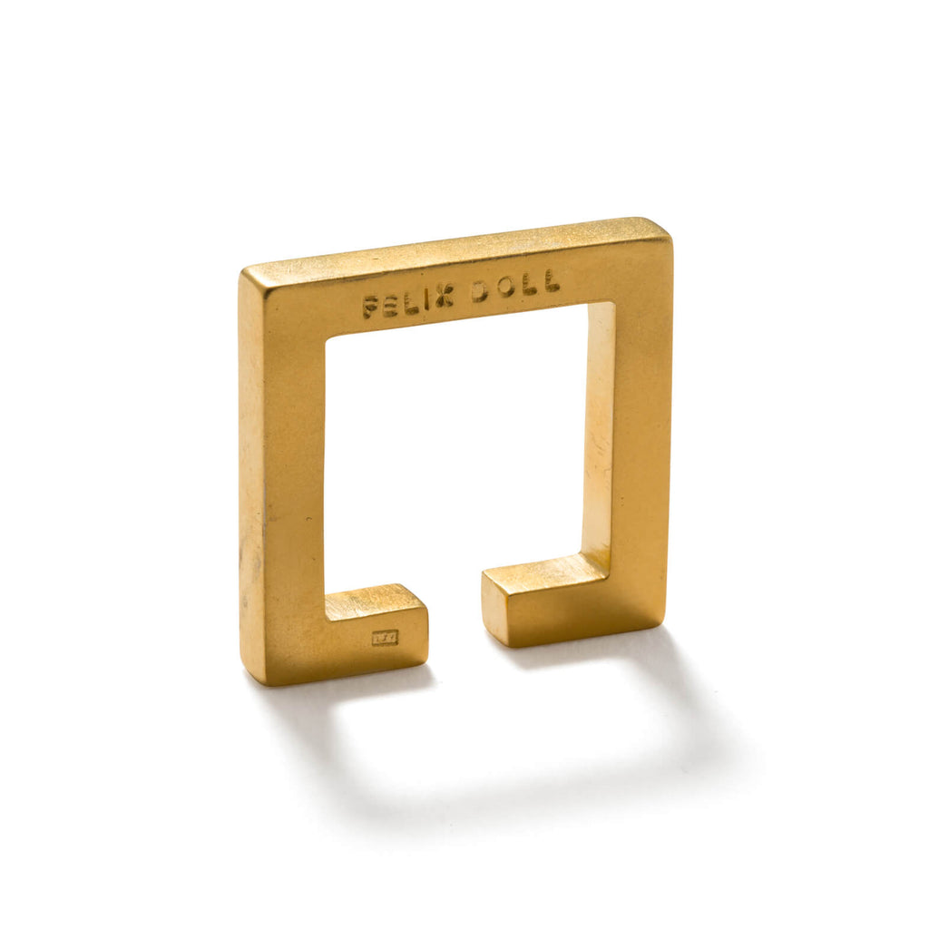 241 C - Solid Square Ring - 24ct gold-plated sterling silver