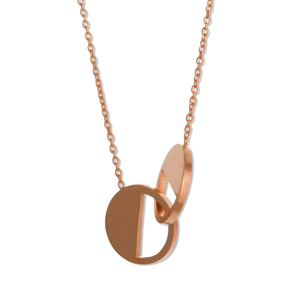 122 D - Connecting Circle Necklace - 18ct rose gold plated silver