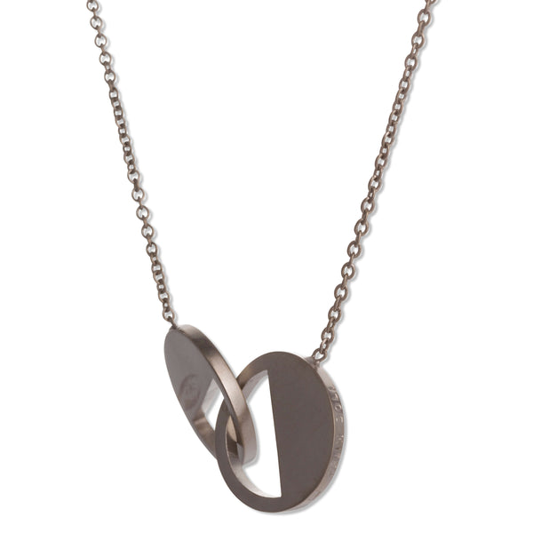 122 D - Connecting Circle Necklace - Black Rhodium plated silver