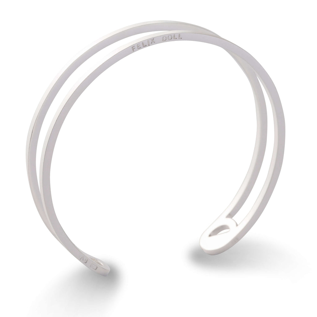 436 D - Thin Circle Bracelet - silver-plated brass