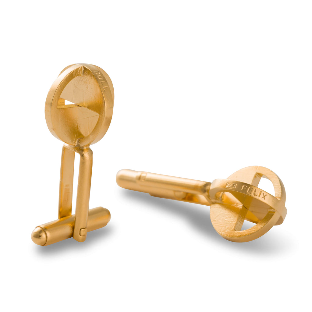 901 D - Binary Globe Cufflinks - 24ct gold-plated silver