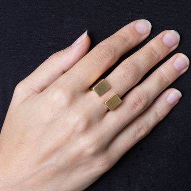 218 B - Square Half Plated Ring - silver gold-plated - Felix Doll Jewelry
