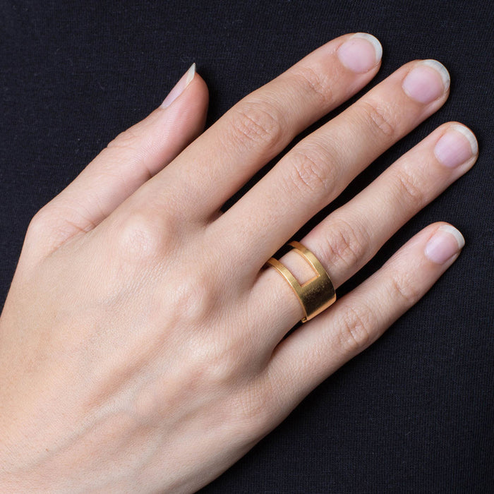 223 B - Round Half Plated Ring - silver gold-plated - Felix Doll Jewelry
