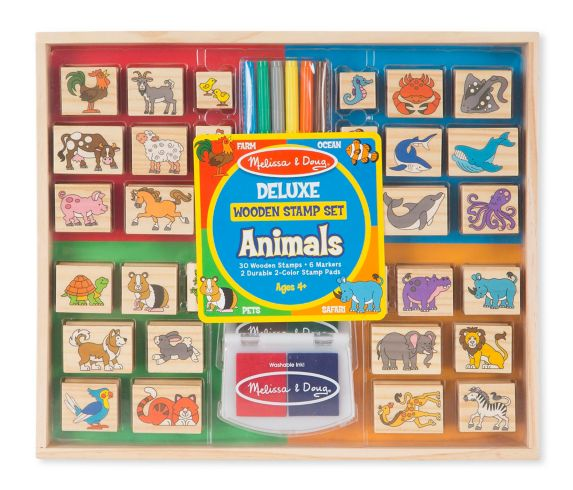 Melissa & Doug Deluxe Wooden Stamp and Coloring Set – Vehicles