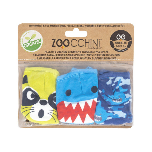 Zoocchini - Reusable Organic Kids Face Masks  One size 3+ 3 Pack
