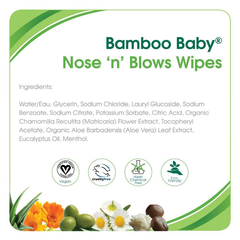 Aleva Bamboo Baby Nose n Blows Wipes
