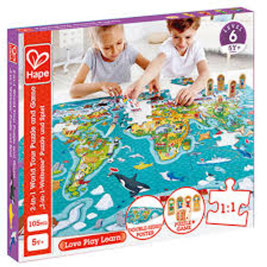 Hape 2 in 1 World Tour Puzzle and Game