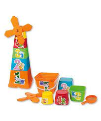 Androni Stackable Sand Toys and Windmill with Bucket and Sieve
