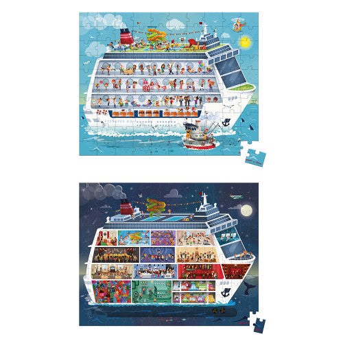 Janod 2 in 1/  100 and 200 piece Cruise Ship Puzzle