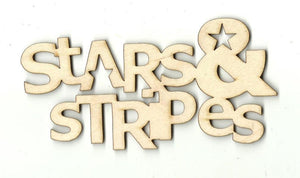 Stars & Stripes - Laser Cut Wood Shape 4Th4 Craft Supply