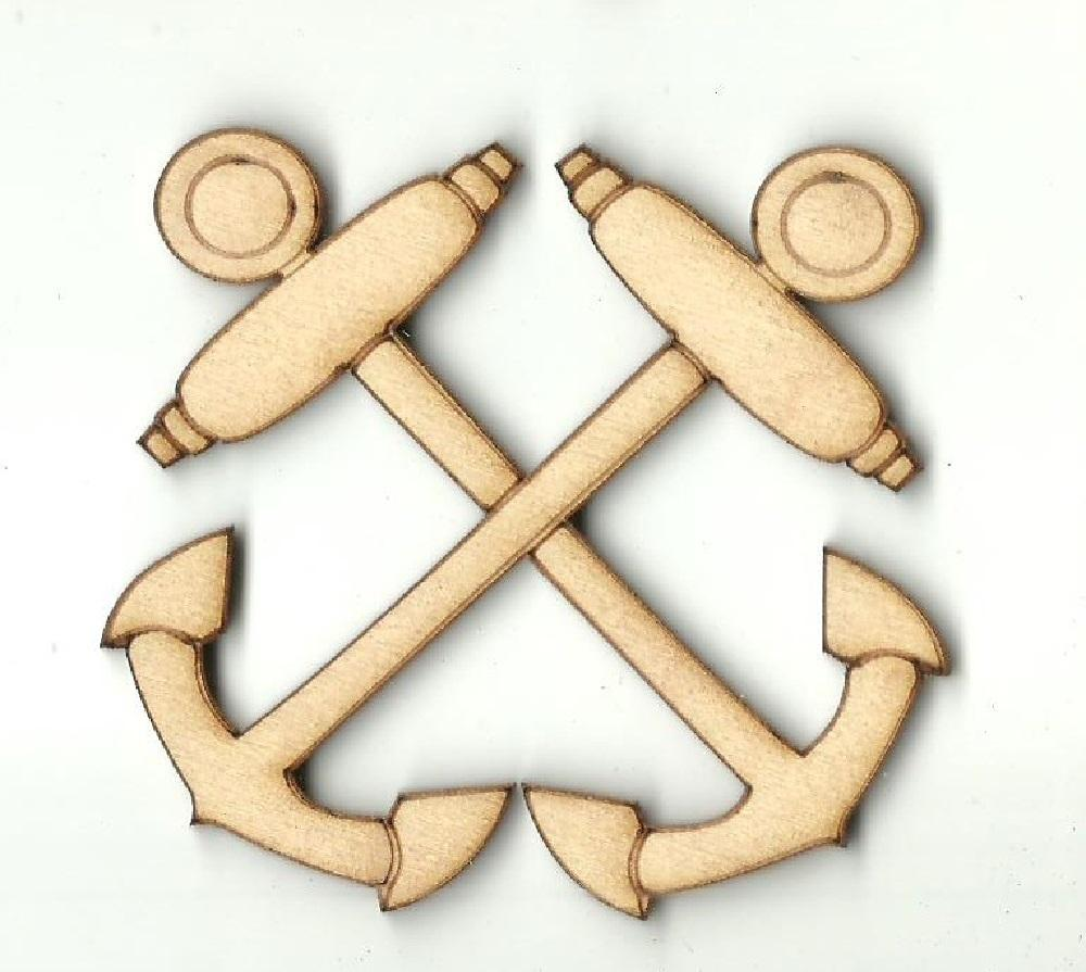 Crossed Anchors - Laser Cut Wood Shape Anc15 Craft Supply