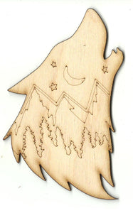 Howling Wolf - Laser Cut Wood Shape ANML126