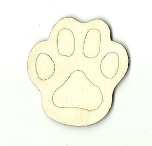 Paw Print - Laser Cut Wood Shape Anml51 Craft Supply