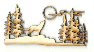 Howling Wolf Scene - Laser Cut Wood Shape Anml72 Craft Supply