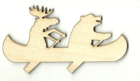 Moose & Bear In A Canoe - Laser Cut Wood Shape Anml76 Craft Supply