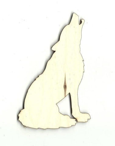 Howling Wolf Coyote - Laser Cut Wood Shape Anml7 Craft Supply