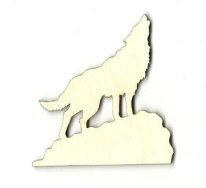 Howling Wolf Coyote - Laser Cut Wood Shape Anml8 Craft Supply